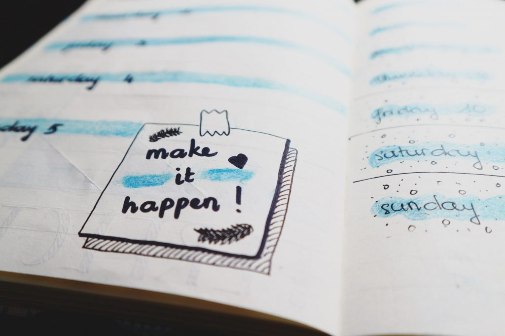 An illustrated to-do list in a notebook